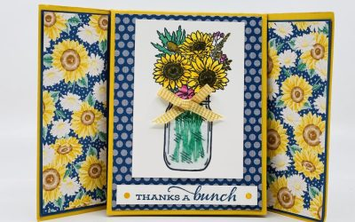 Jar of Flowers & Celebrate Sunflowers Fun Fold