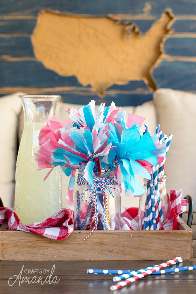 red white and blue paper flowers on table