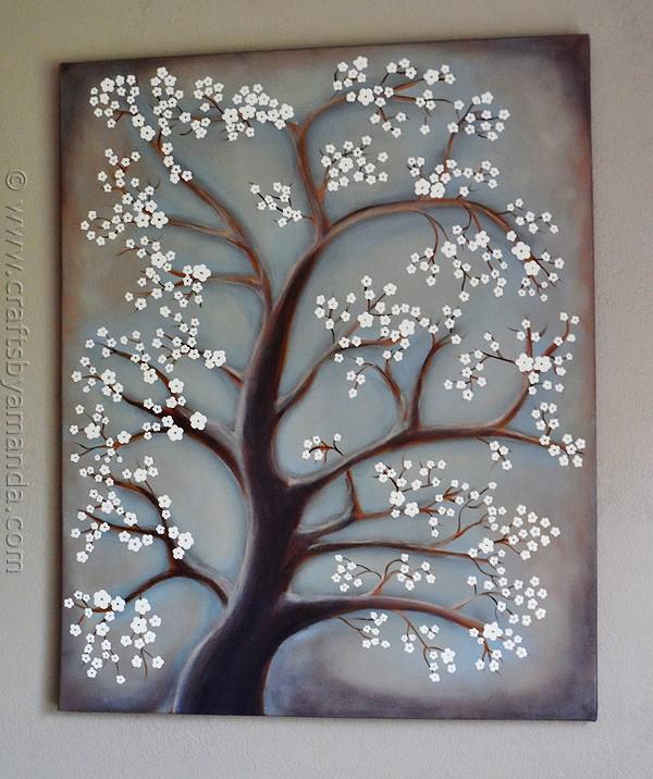 White Cherry Blossom Tree Painting Crafts By Amanda