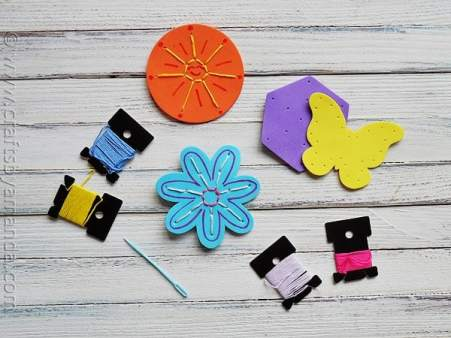 Make your own Craft Foam Sewing Cards! CraftsbyAmanda.com @amandaformaro