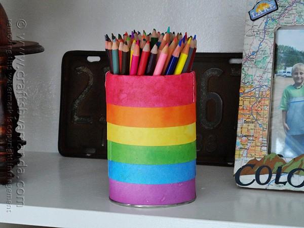 Rainbow Pencil Holder Can Crafts By Amanda