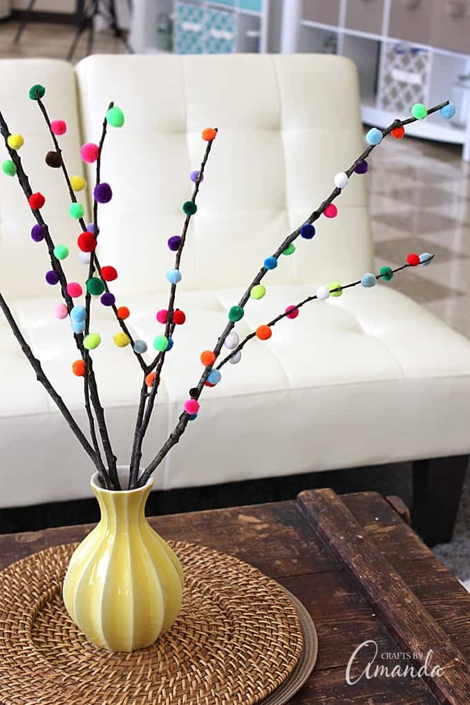 These adorable pom pom branches from Crafts by Amanda would brighten any  room!