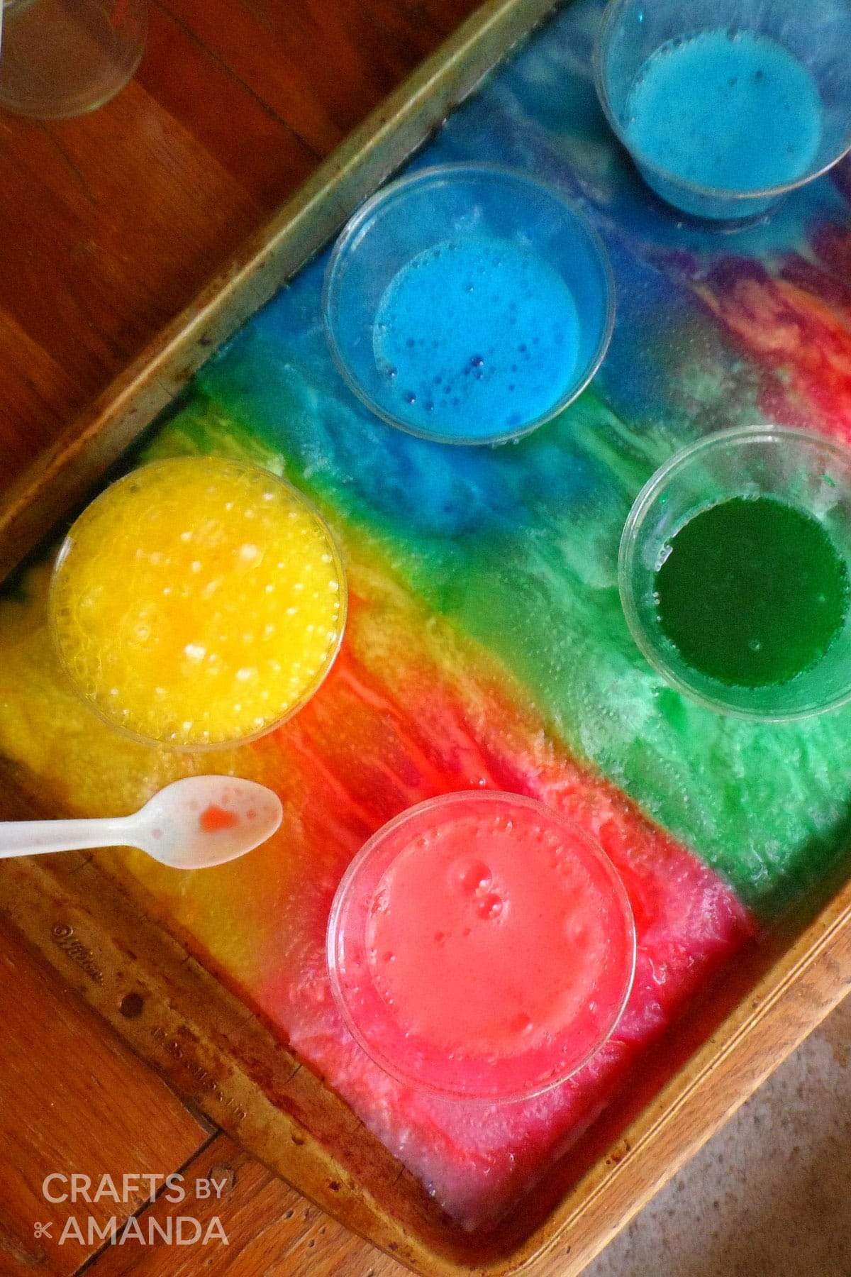 Colorful Baking Soda And Vinegar Reaction