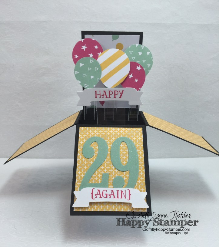 Stampin' Up, It's My Party, Card in a box, 3D, Balloon Bouquet Punch, Number of Years, Large Number Framelits