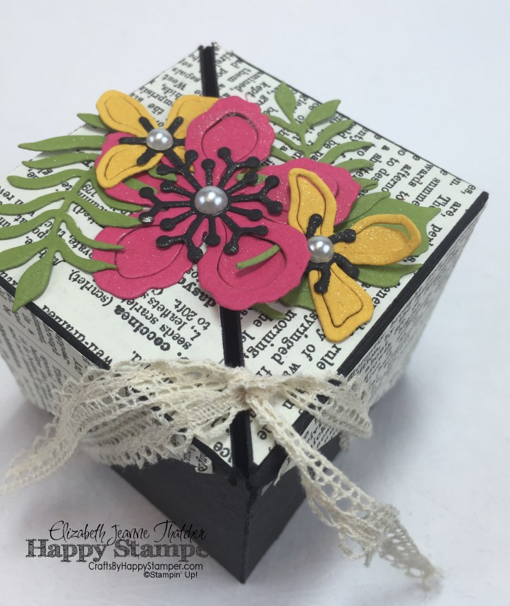 Winged Gift Box, Stampin' Up, Botanical Gardens, Typeset, Venetian Trim, 3D