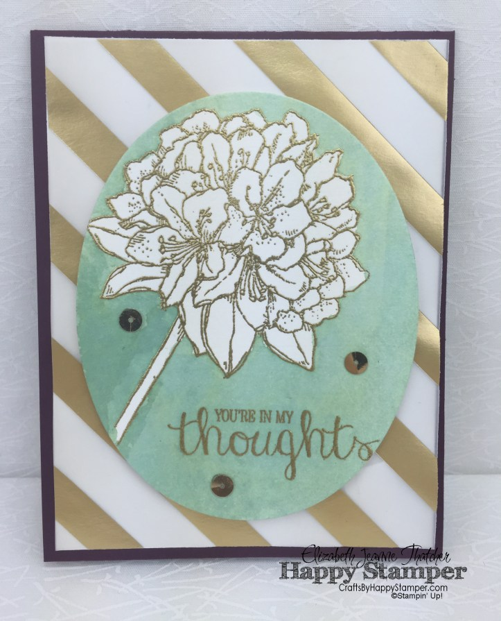 stampin up, best thoughts, watercolor, gold vellum, flat wash, technique club