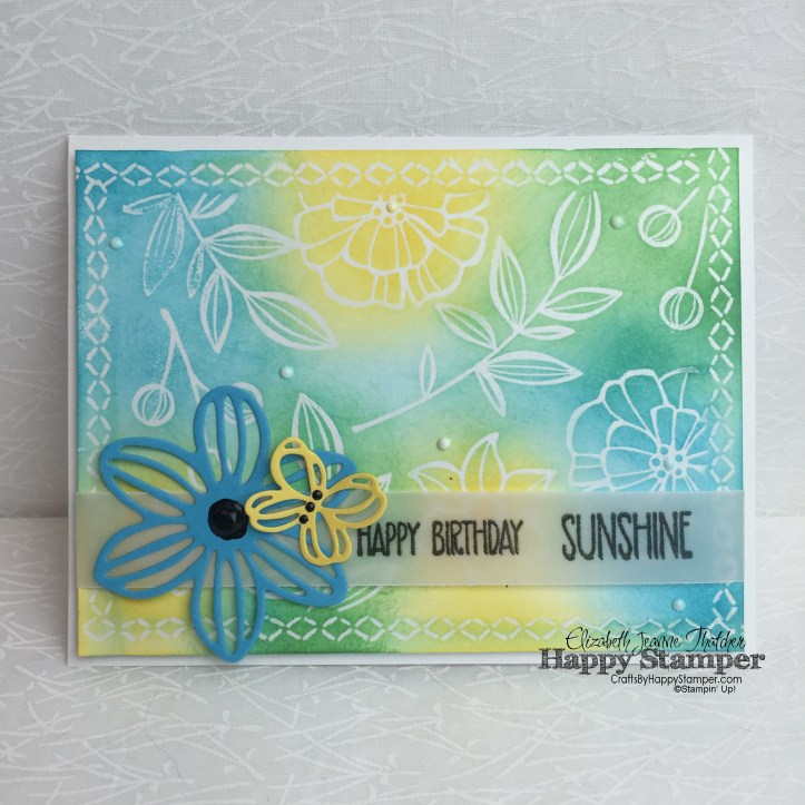 Stampin Up, diy, emboss resist, Sunshine Sayings, Falling Flowers, Lovely Stitching, summer, beach ball
