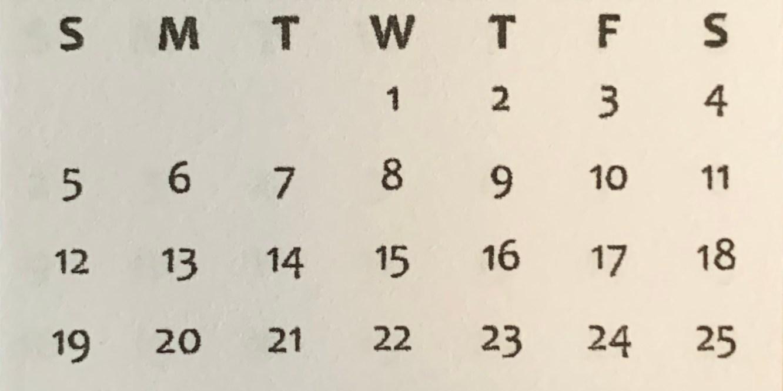 mini calendar, 2020