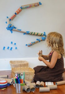 """A toy is an object plus imagination,"" says Rachelle Doorley, whose book, blog, and outreach efforts at Tinkerlab encourage discovery with fun and playful experiments – like this paper towel-and-toilet paper tube marble run."