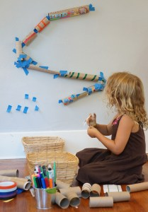 """""""A toy is an object plus imagination,"""" says Rachelle Doorley, whose book, blog, and outreach efforts at Tinkerlab encourage discovery with fun and playful experiments – like this paper towel-and-toilet paper tube marble run."""