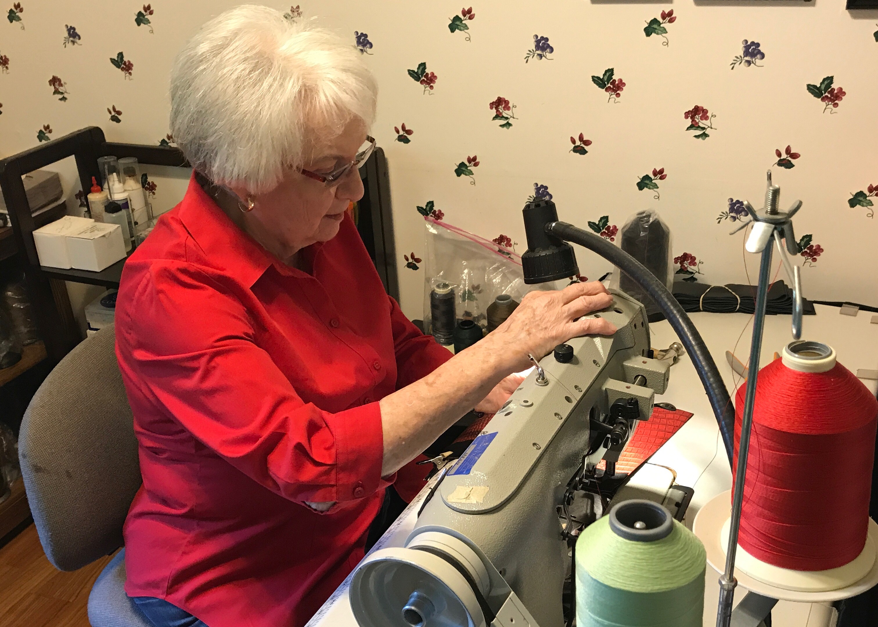 Beverly Humphreys at her sewing machine