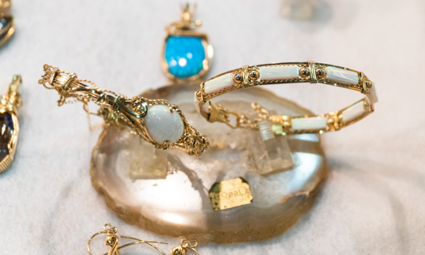 Opal bracelets set in gold