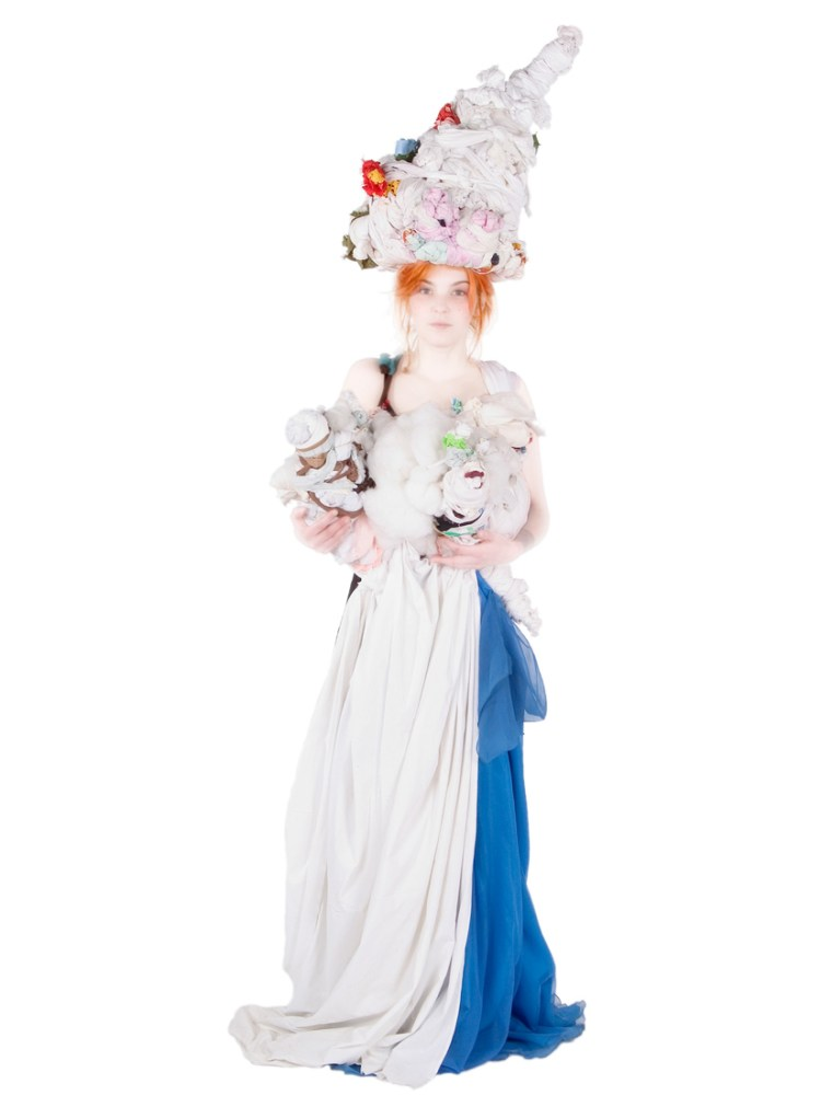 woman in textile bridal headwear and dress