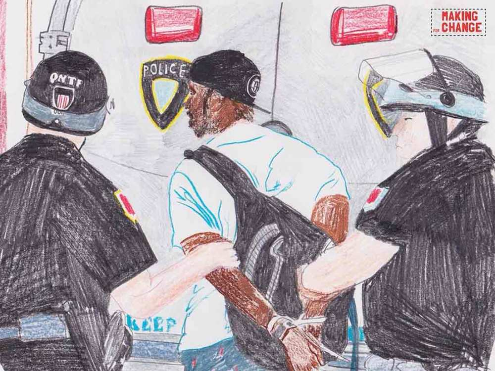 A drawing of a black man being arrested by police.