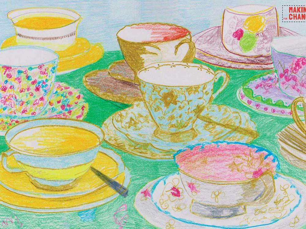 A bright drawing of pretty tea cups.