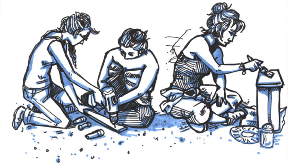 Illustration of 3 women working using drills and paint brushes.