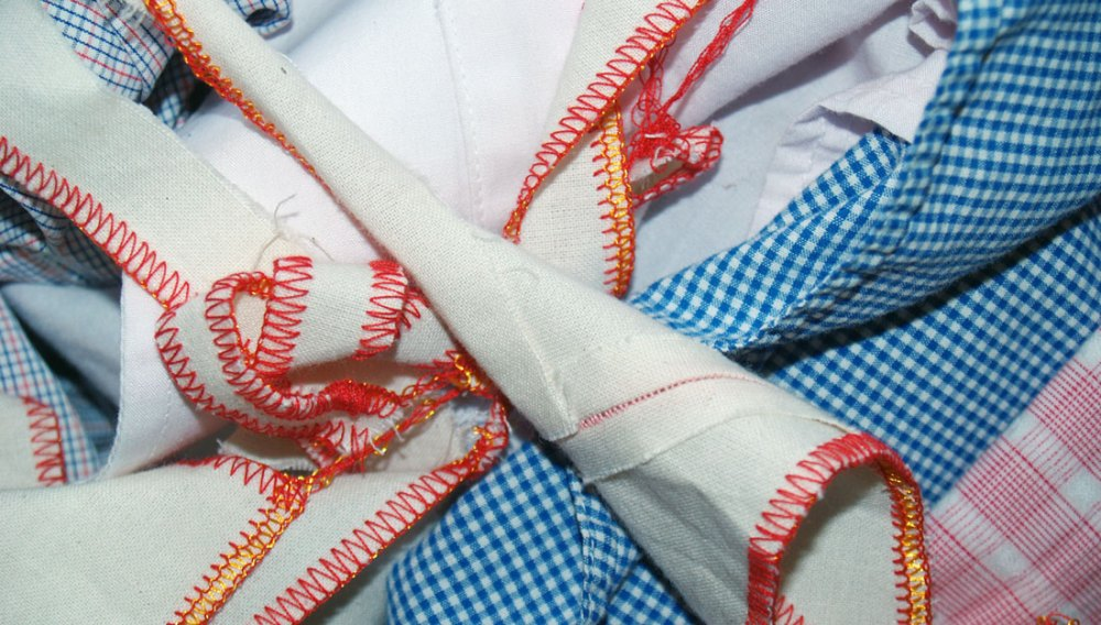 Detail of stitched and woven fabrics.