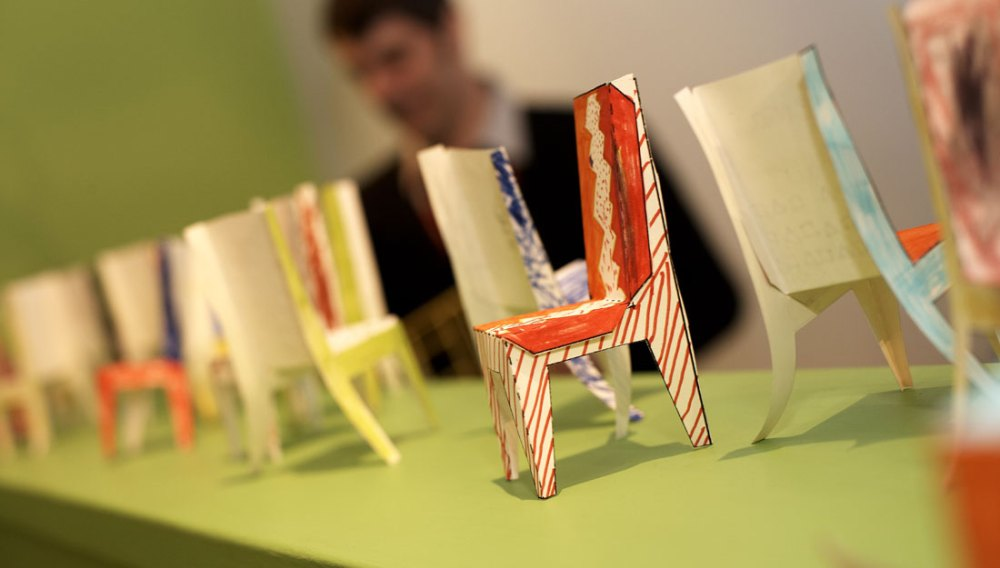 Small chairs made from paper.