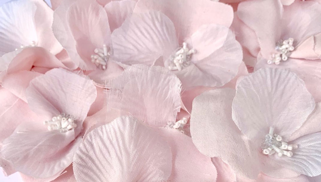 Delicate textiles flowers.