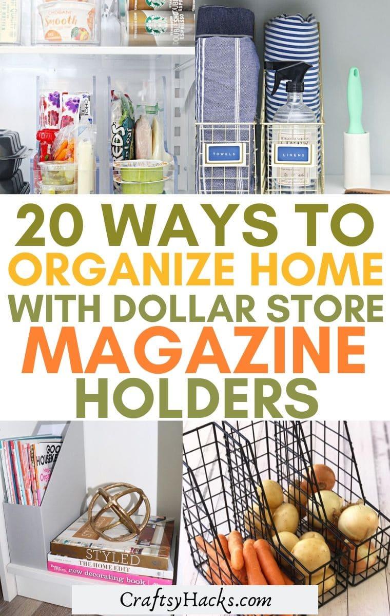 20 Ways To Organize With Dollar Store Magazine Holders
