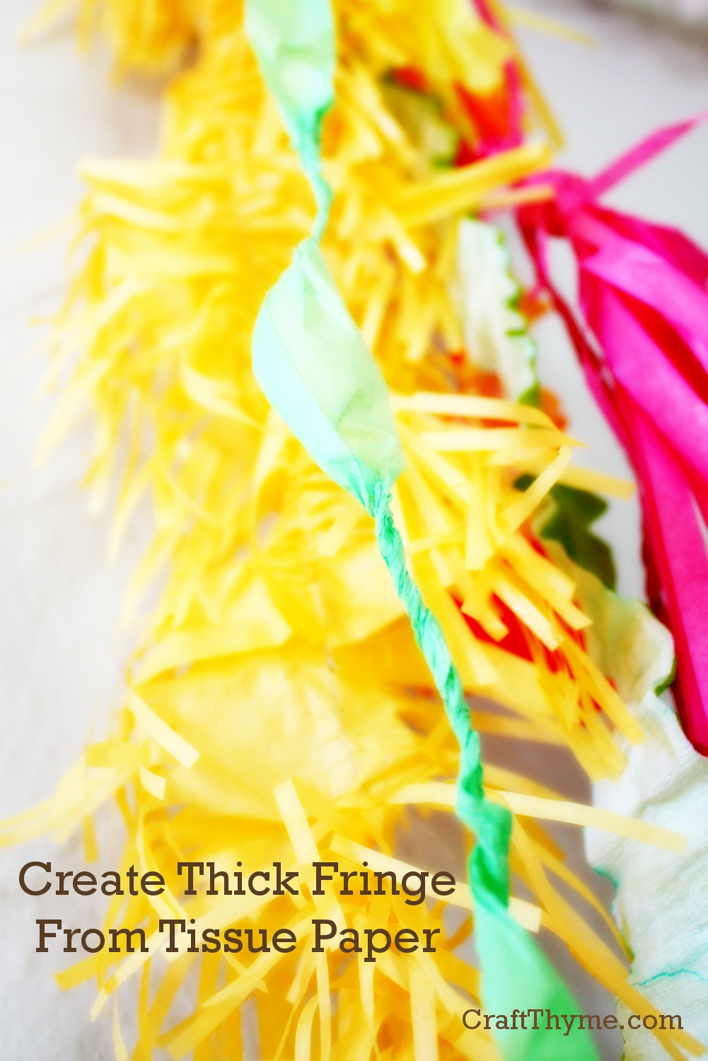 Create thick tissue paper fringe