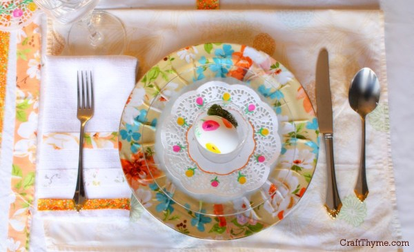 Decorated table setting for Easter