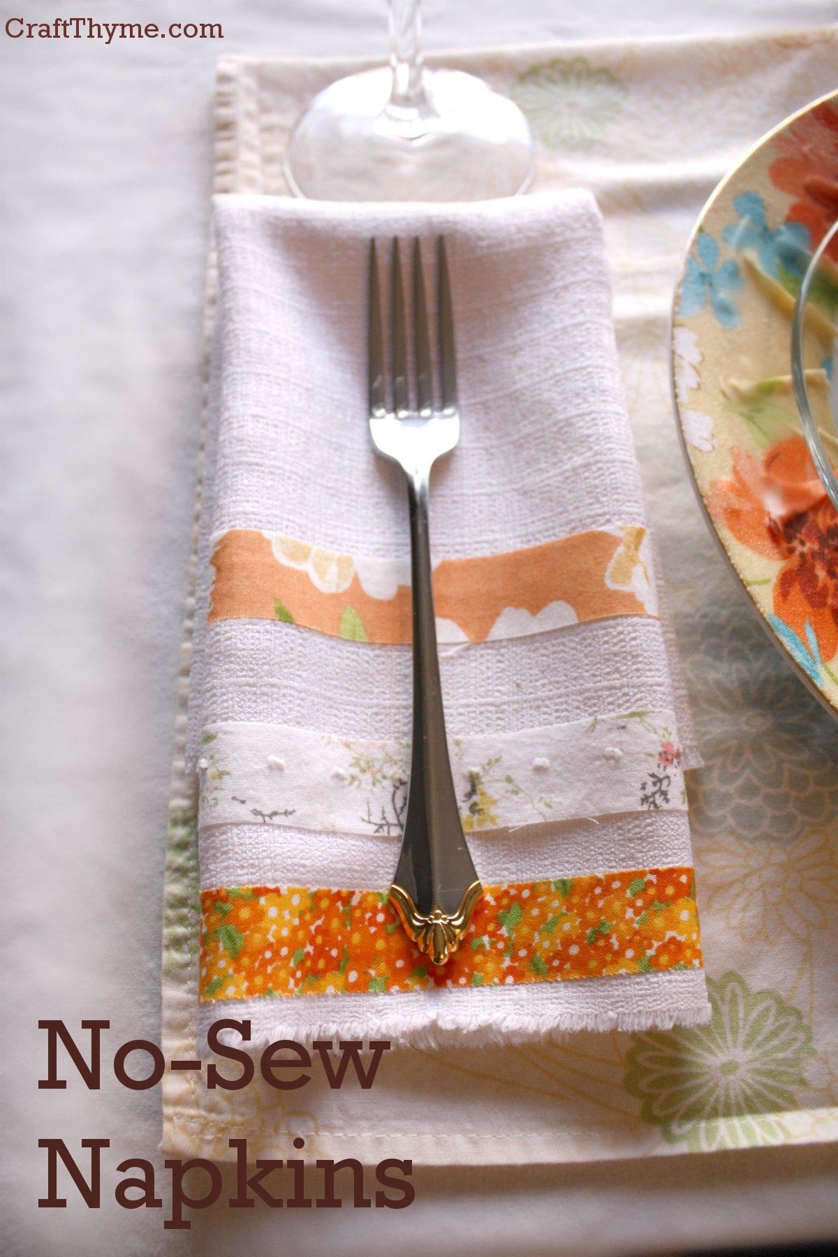 How To Make No Sew Fabric Napkins Craft Thyme