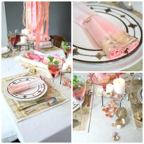 Salmon and Pink place settings