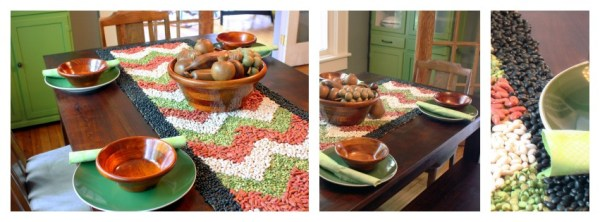 Fall table decor details featuring pea green and ruddy browns