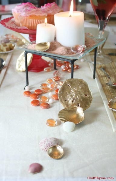 Vignette with various items accented in liquid gold leaf