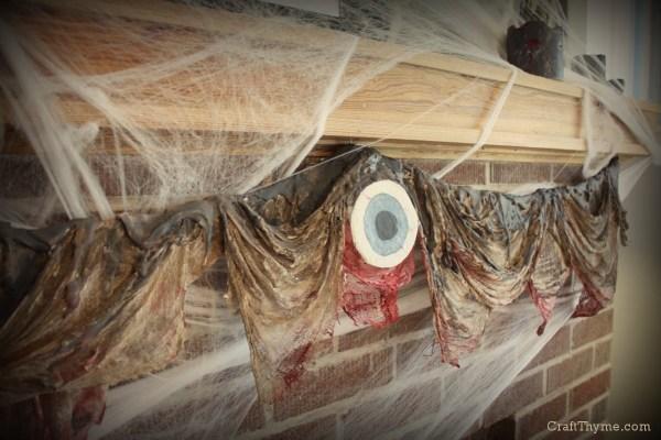 Halloween Mantel with Dripping Flesh Garland