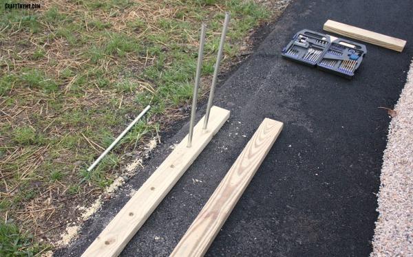 drilling holes in garden trellis