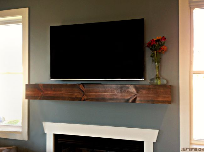 Completed wooden mantel