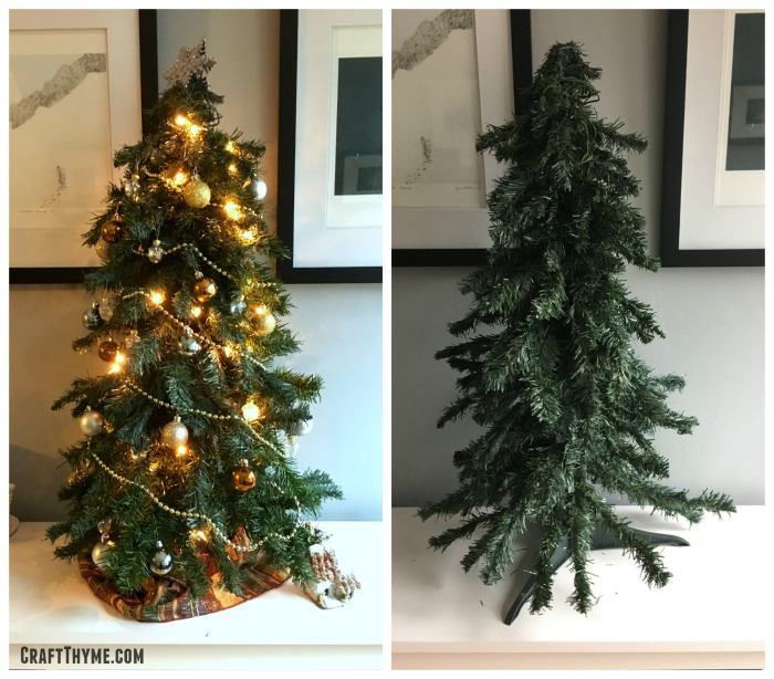 before and after thickening a sparse Christmas tree using this tutorial.