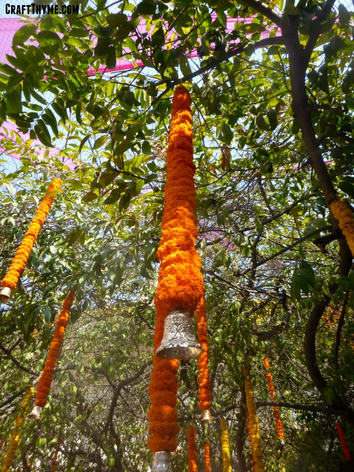 Marigold garlands found in a temple in India during Holi