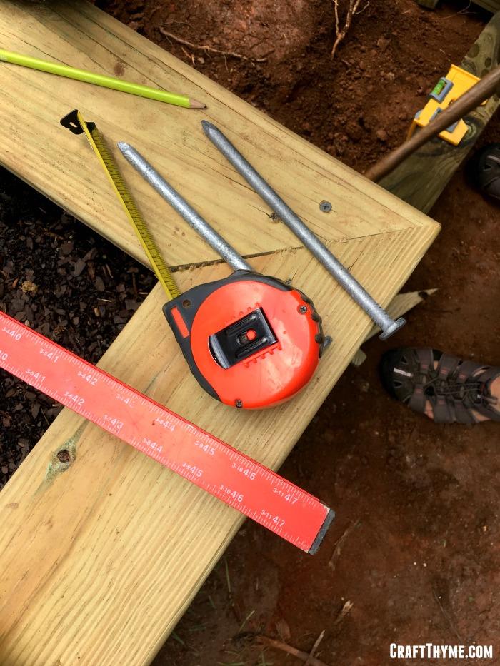 Supplies to build an outdoor staircase for the garden