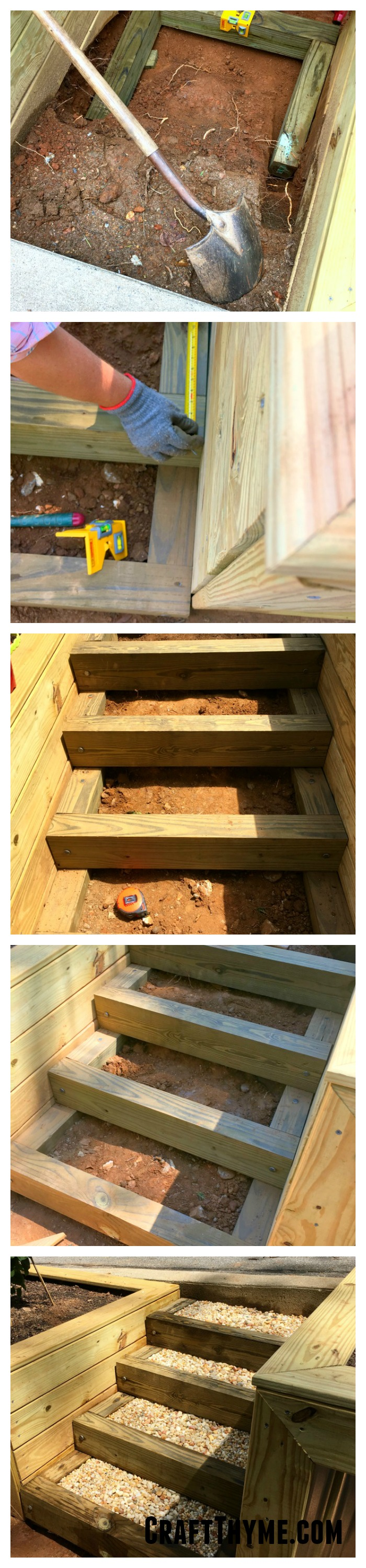 Tutorial on how to create timber and pea gravel stairs for your tiered garden.