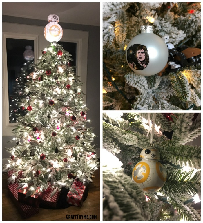 Details of our Star Wars Christmas trees with handmade ornaments