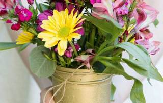 DIY Flower Arrangements and Gold Glitter Vases