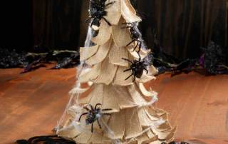 Burlap cone tree with spiders