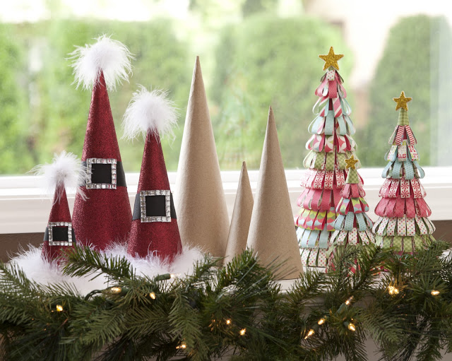 Holiday Paper Mache Cones
