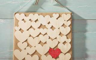 Wood Hearts DIY on Burlap Canvas
