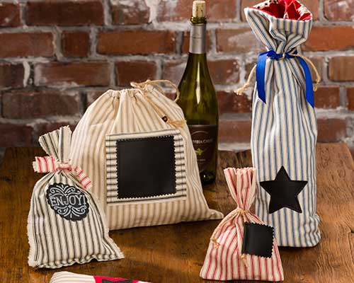 Cotton Woven Ticking Stripe Canvas Bags