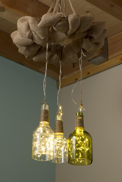 Reclaimed Bottle Firefly Chandelier