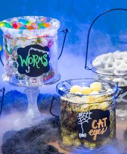 Glass Candle Holder Buckets - Halloween
