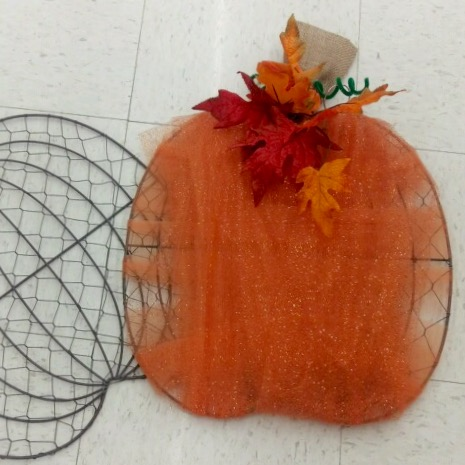 Wire Wall Pumpkins with Tulle