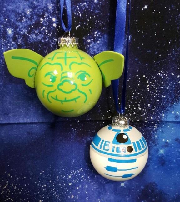Star Wars R2D2 Yoda ornament decoart acrylic paint