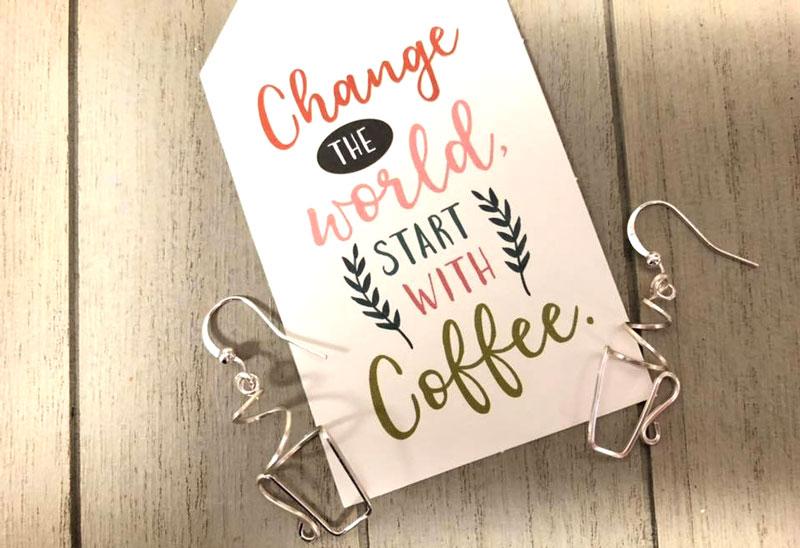 Wire Coffee Cup Earrings
