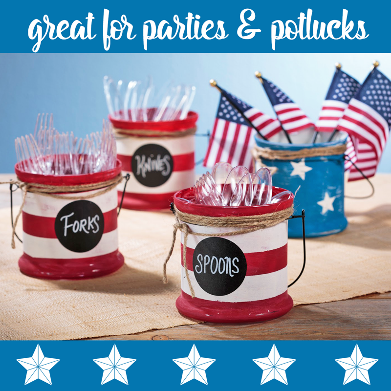 Fourth of July Painted Jars and Utensil Holders