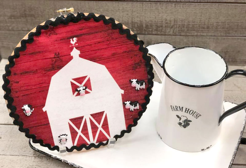 Barn House Embroidery Hoop